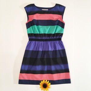 Black/blue LOFT color block stripe dress, small p